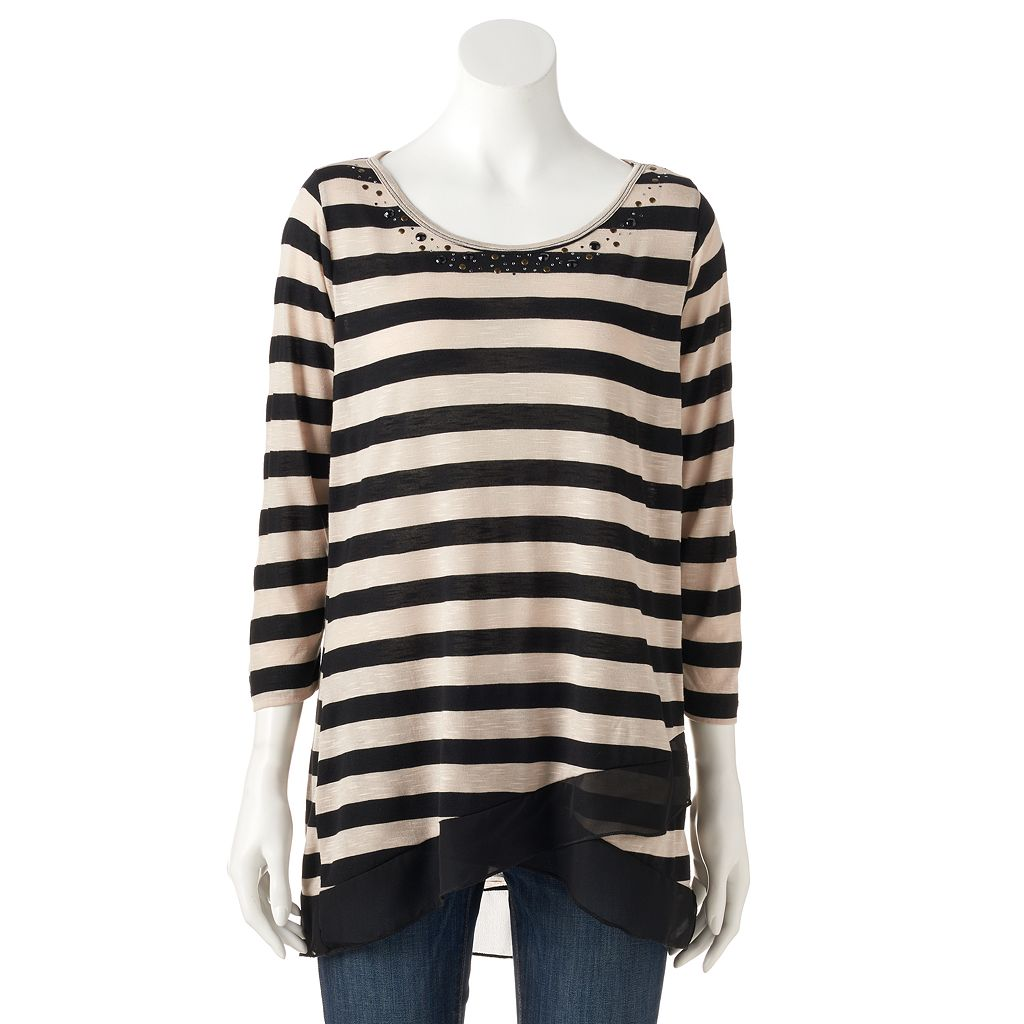 Women's French Laundry Embellished Striped Asymmetrical Top