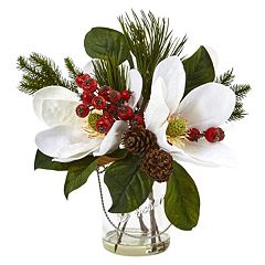 nearly natural Magnolia, Pine & Berry Artificial Floral Arrangement