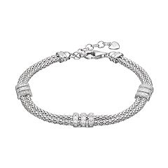 Sterling Silver Cubic Zirconia Double Strand Bracelet