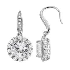 Sterling Silver Lab-Created White Sapphire Halo Drop Earrings