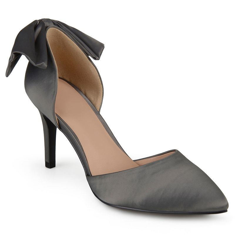 These Journee Collection Tanzi pumps highlight a trendy two-piece style complete with a charming bow accent and a sleek pointed toe.SHOE FEATURES Two-piece styling Back bow detail SHOE CONSTRUCTION Manmade materials SHOE DETAILS Pointed toe Slip-on Padded footbed  Size: 12. Color: Silver. Gender: female. Age Group: kids. Pattern: Solid. Material: Synthetic.