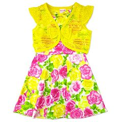 Girls 4-6x Nanette Print Scuba Dress with Lace Shrug