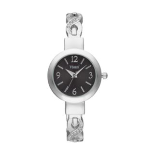 Vivani Women's Crystal Crisscross Cuff Watch