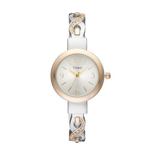 Vivani Women's Crystal Crisscross Cuff Watch