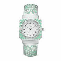 Vivani Women's Crystal Floral Cuff Watch