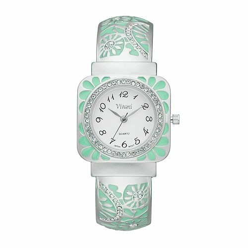 Vivani Women's Crystal Floral Cuff Watch