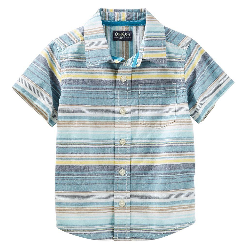 Boys 4-8 OshKosh B'gosh® Striped Short-Sleeved Button-Front Shirt
