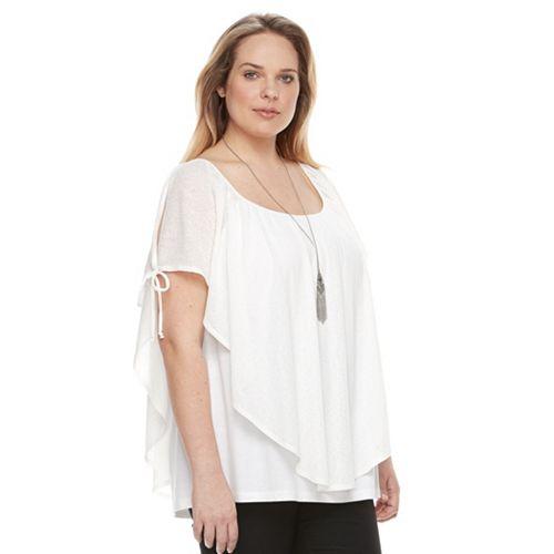 Plus Size AB Studio Cold-Shoulder Popover Top
