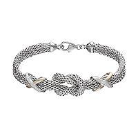 Sterling Silver & 14k Gold Cubic Zirconia Knot Bracelet
