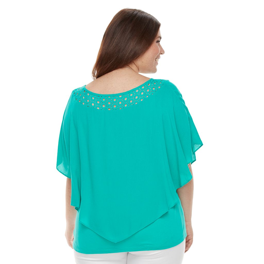Plus Size AB Studio Lace-Neckline Poncho Top