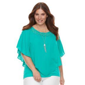 Plus Size AB Studio Lace-Neckline Poncho Top