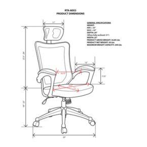 Techni Mobili Mesh High-Back Executive Desk Chair