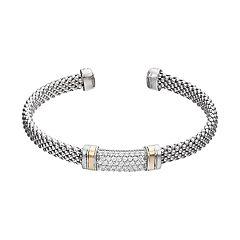 Sterling Silver & 14k Gold Cubic Zirconia Cuff Bracelet