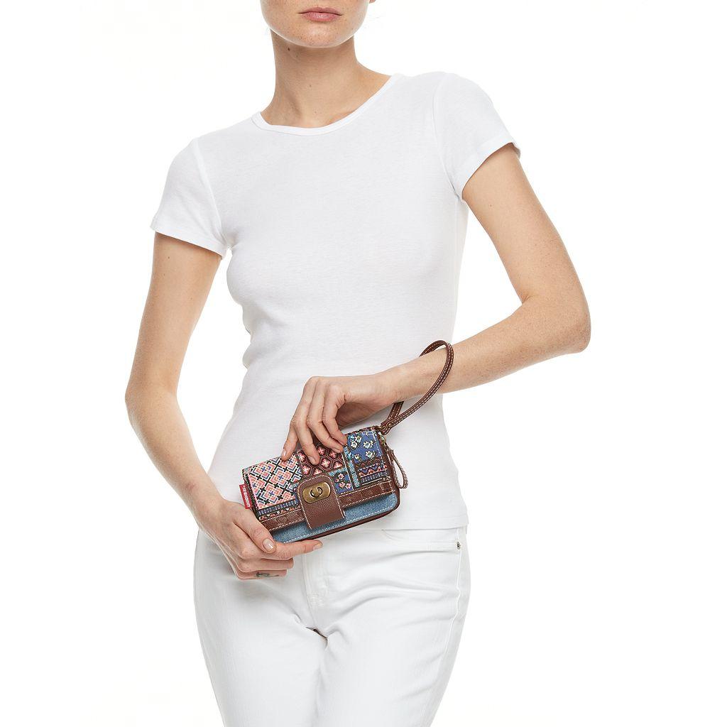 Unionbay Mixed Prints Patchwork Zip-Around Wristlet