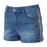 Juniors' SO® Foil Trim High-Waist Jean Shortie Shorts