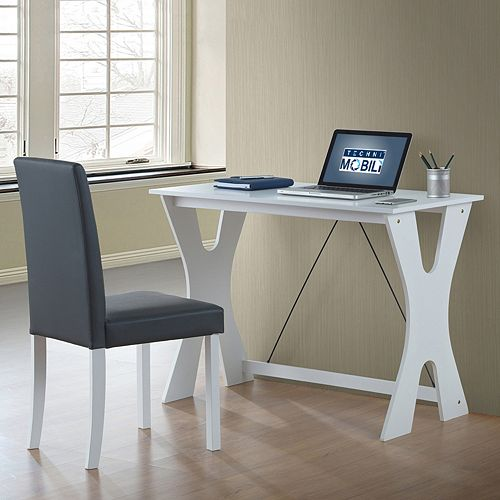 Techni Mobili Modern White Desk & Chair 2-piece Set