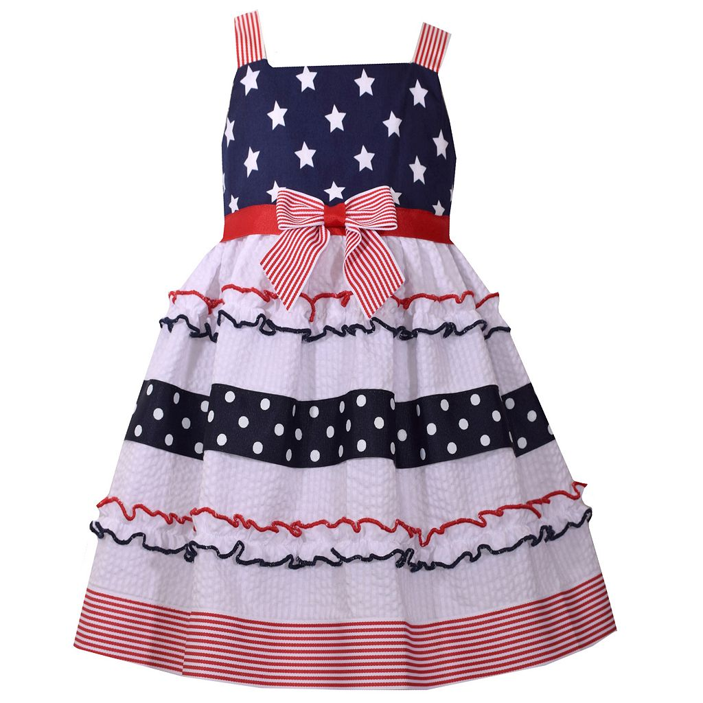 Girls 4-6x Bonnie Jean Americana Sleeveless Stars & Stripes Sundress