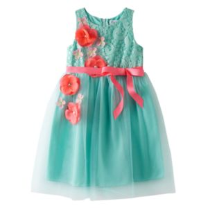 Girls 4-6x Emerald Sundae Floral Lace & Tulle Dress