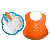 BabyBjorn 4 pc Baby Bib, Plate, Spoon & Fork Feeding Set