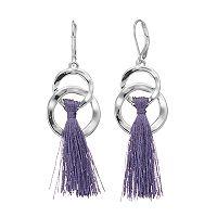 Dana Buchman Purple Tassel Interlocked Nickel Free Hoop Earrings