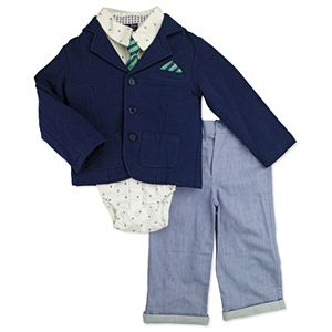 Baby Boy Baby Boyz French Terry Blazer, Button-Front Bodysuit, Twill Pants & Tie Set