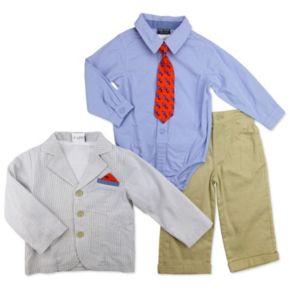 Baby Boy Baby Boyz Button-Front Bodysuit, Striped Blazer, Cuffed Pants & Tie Set