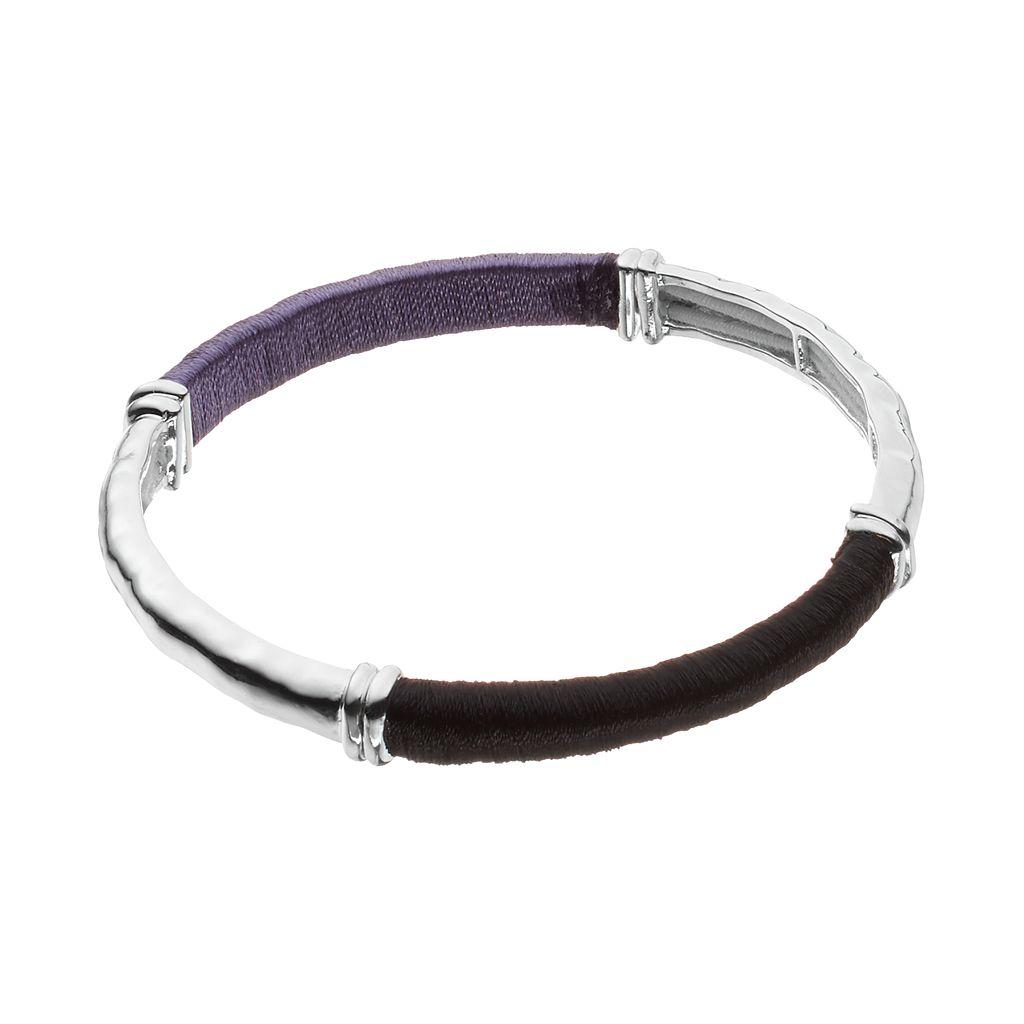 Dana Buchman Purple & Black Threaded Stretch Bangle Bracelet