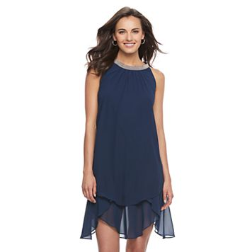 Women's Expo Beaded Handkerchief Shift Dress