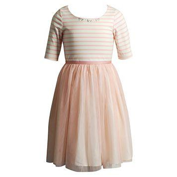 Girls 7-16 Emily West Striped Knit Woven Crinoline Dress