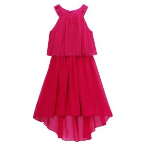 Girls 7-16 Emily West Pink Woven Popover Rhinestone Dress