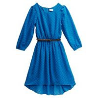 Girls 7-16 Emily West Blue Woven Chiffon Dress with Braided Belt