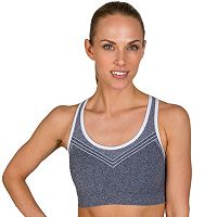 Jockey Sport Bras: Black Linear Mélange Medium-Impact Sports Bra 9277