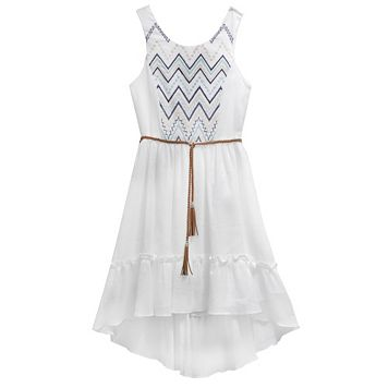Girls 7-16 Emily West Embroidered Gauze Dress with Braided Belt