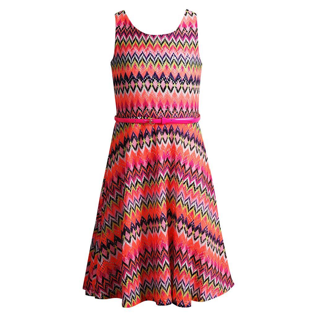 Girls 7-16 Emily West Neon Belted Crochet Knit Dress