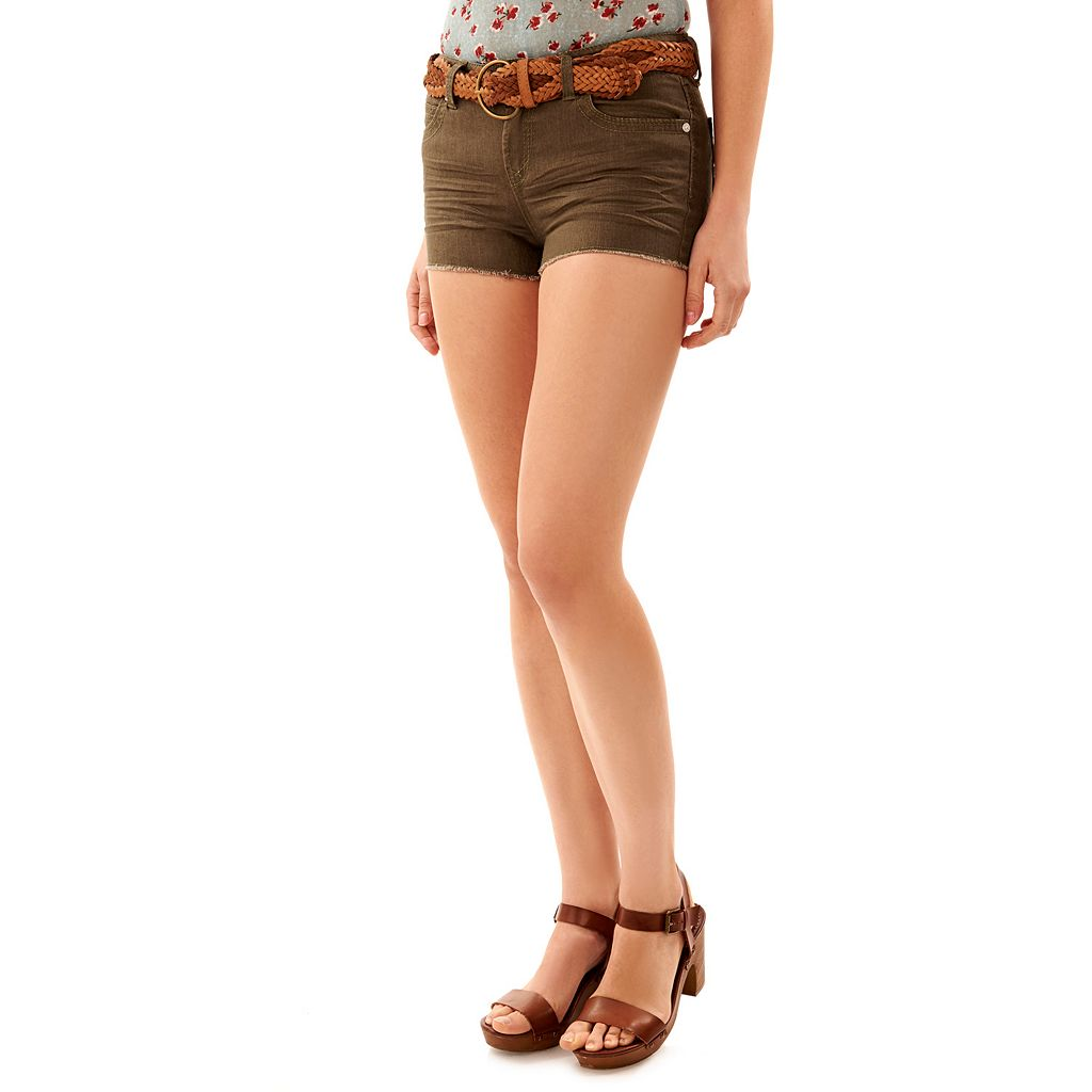 Juniors' Wallflower Legendary Fray Hem Denim Shortie Shorts