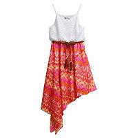 Girls 7-16 Emily West Asymmetrical Skirt Belted Dress