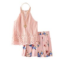 Girls 7-16 Knitworks Halter Top & Printed Skort Set with Necklace