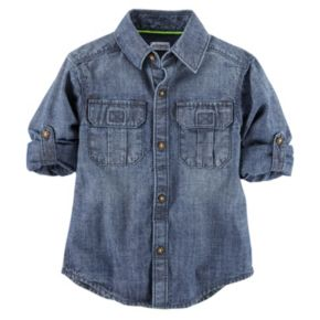 Boys 4-8 Carter's Roll-Tab Woven Denim Button-Down Shirt