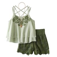 Girls 7-16 Knitworks Tiered Embroidered Top & Shorts Set with Necklace