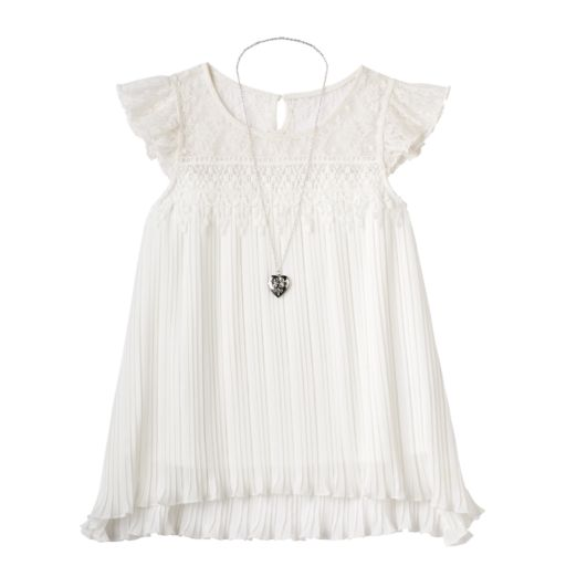 Girls 7-16 Knitworks Ruffled Lace Top with Necklace