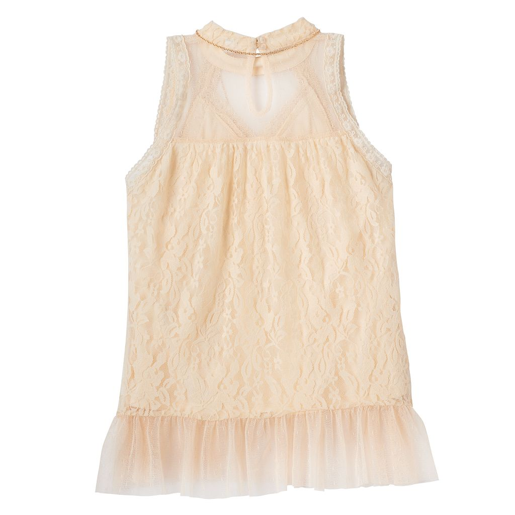 Girls 7-16 Knitworks Lace High-Neck Top with Necklace