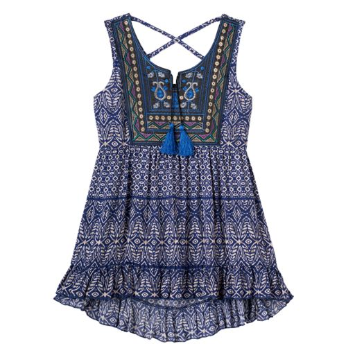Girls 7-16 Knitworks Criss-Cross Back Embroidered Tassel Top