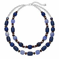 Chaps Blue Beaded Double Strand Necklace