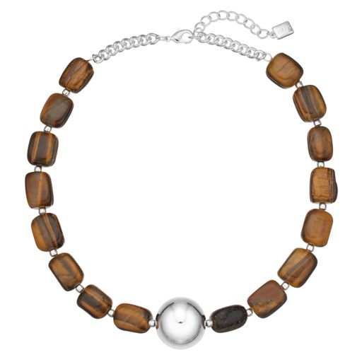 Chaps Simulated Tiger's Eye Beaded Necklace