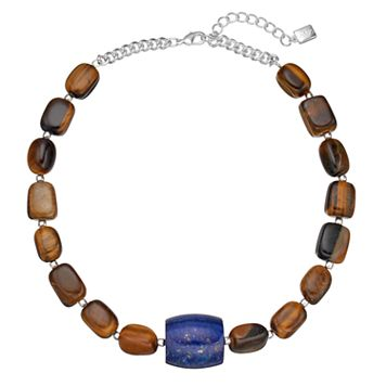 Chaps Simulated Tiger's Eye & Blue Tube Bead Necklace