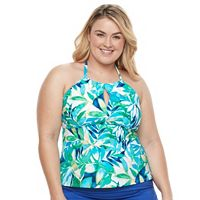 Plus Size Chaps Mosaic Halterkini Top