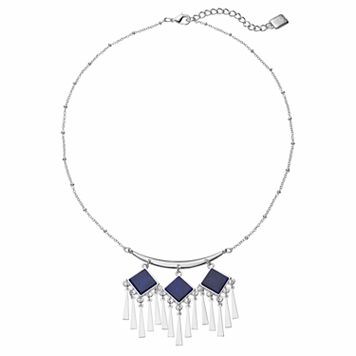 Chaps Blue Square Chandelier Fringe Necklace
