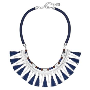 Chaps Blue Beaded Tassel Cord Necklace