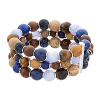 Chaps Blue & Brown Beaded Multi Strand Stretch Bracelet