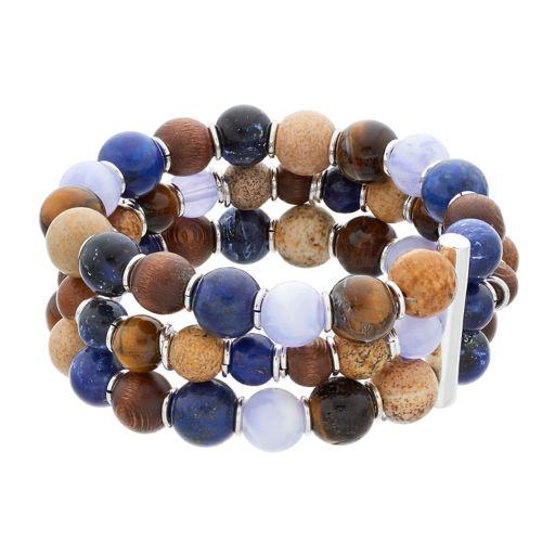 Chaps Blue & Brown Beaded Multi Strand Stretch Bracelet